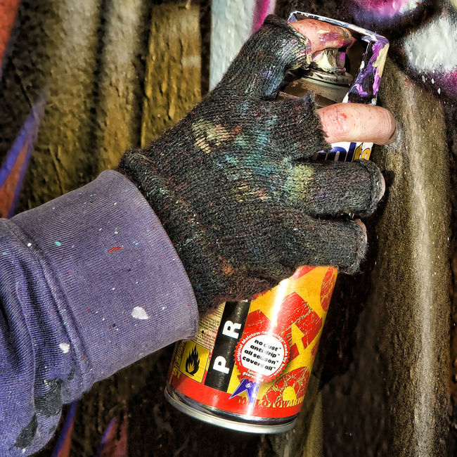 Aerosol Artist Close-up Cropped Gloves Graffiti Leisure Activity Lifestyles Outdoors Paint Painting Spraypaint Unrecognizable Person