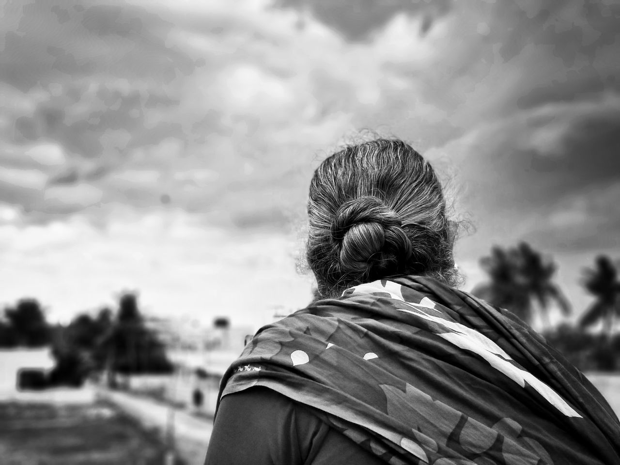 Rear View One Person Adults Only Only Men One Man Only Adult Sky People Headshot Cloud - Sky Outdoors Men Day Standing Real People Human Body Part Close-up Old-fashioned Hairstyle TheWeek On EyEem Oldlady Blackandwhite Monochrome Bnw Indian