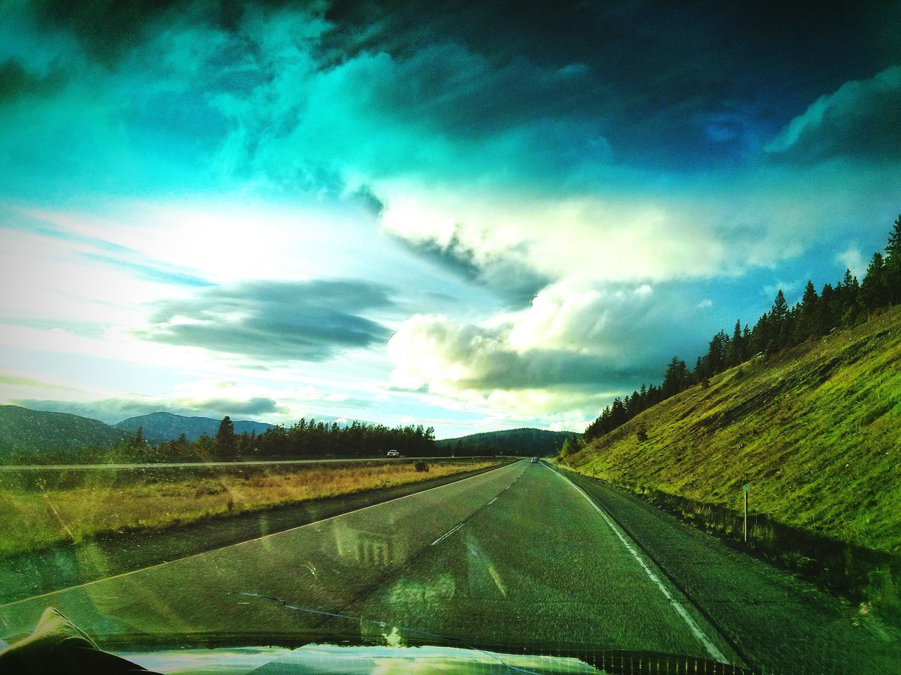 Vignette Open Road Empty Road Mountains Trees Blue Green Reflection Perfect Day On The Move On The Way Solotraveler Solo Perfection Lovely Drive Home Lovely Landscape Crisp Sunshine