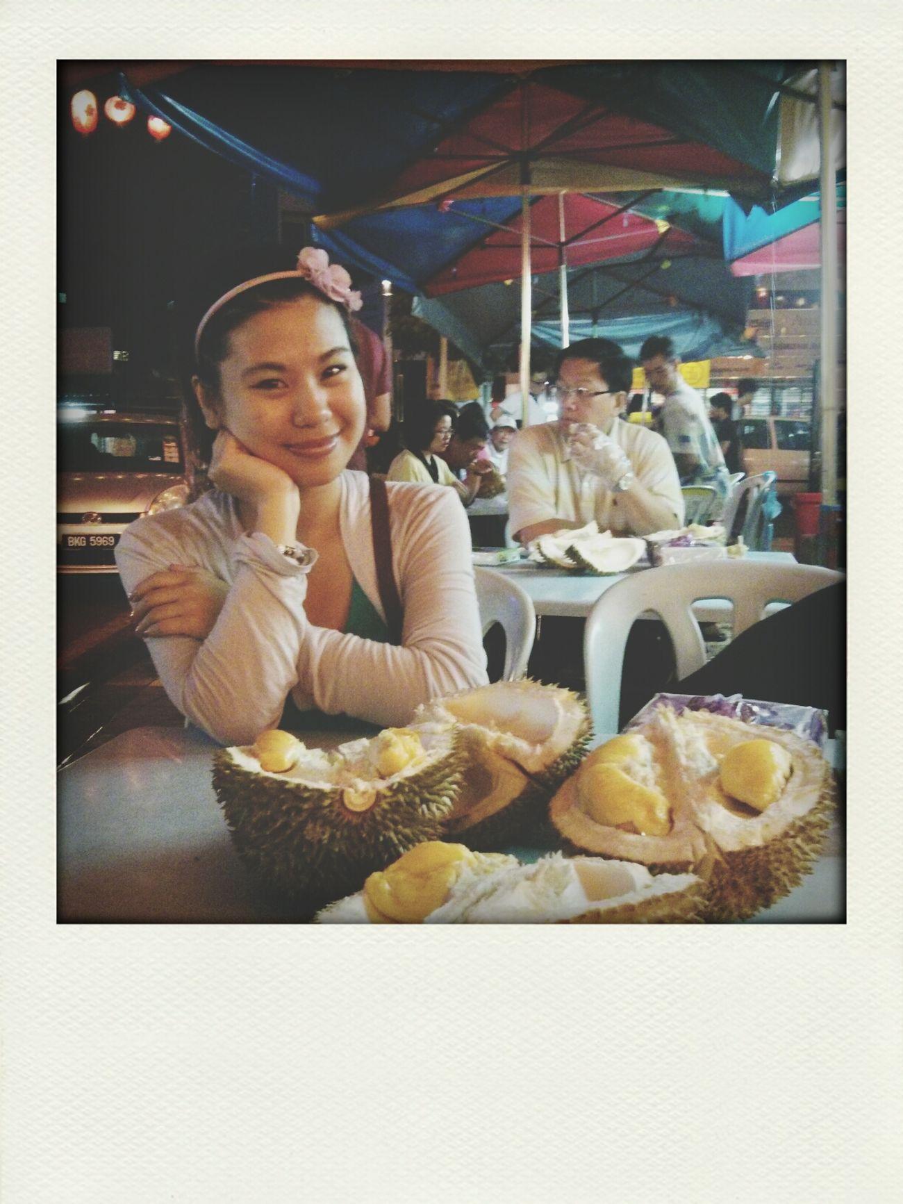 Enjoying durians in the street market of Jalan Alor | Kuala Lumpur , Malaysia Travel Photography