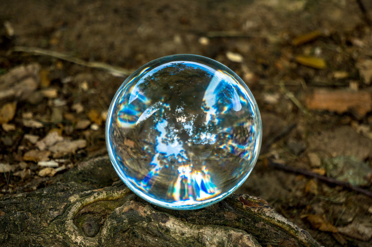 reflection, fragility, bubble, no people, crystal ball, refraction, day, close-up, outdoors, spectrum, bubble wand, nature