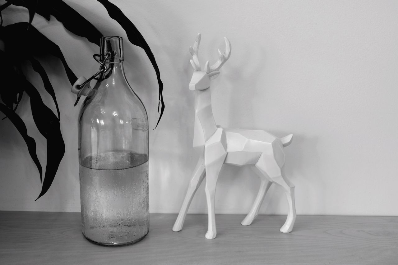 Indoors  Table No People Bottle Close-up Day Deer 😚 Decoration Home Decor Decor Fashion Style Blackandwhite Monochrome Freshness Drink Water Plant Vintage Geometric Shape
