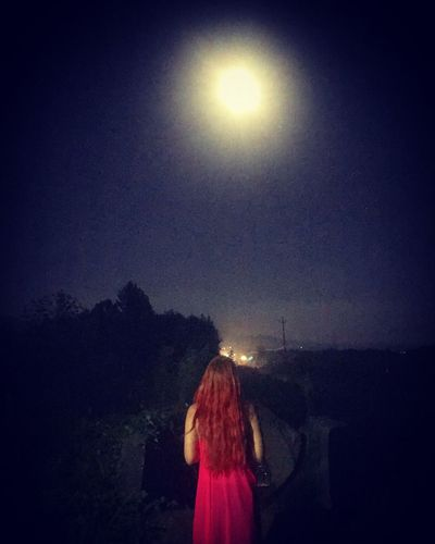 Standing Real People Leisure Activity Night Rear View One Person Sky Long Hair Outdoors Lifestyles Women Illuminated Nature People Moon Moonlight Girlswithink Girl Alone Time Alone No People Nightlife Young Women Nature Photography Thinking