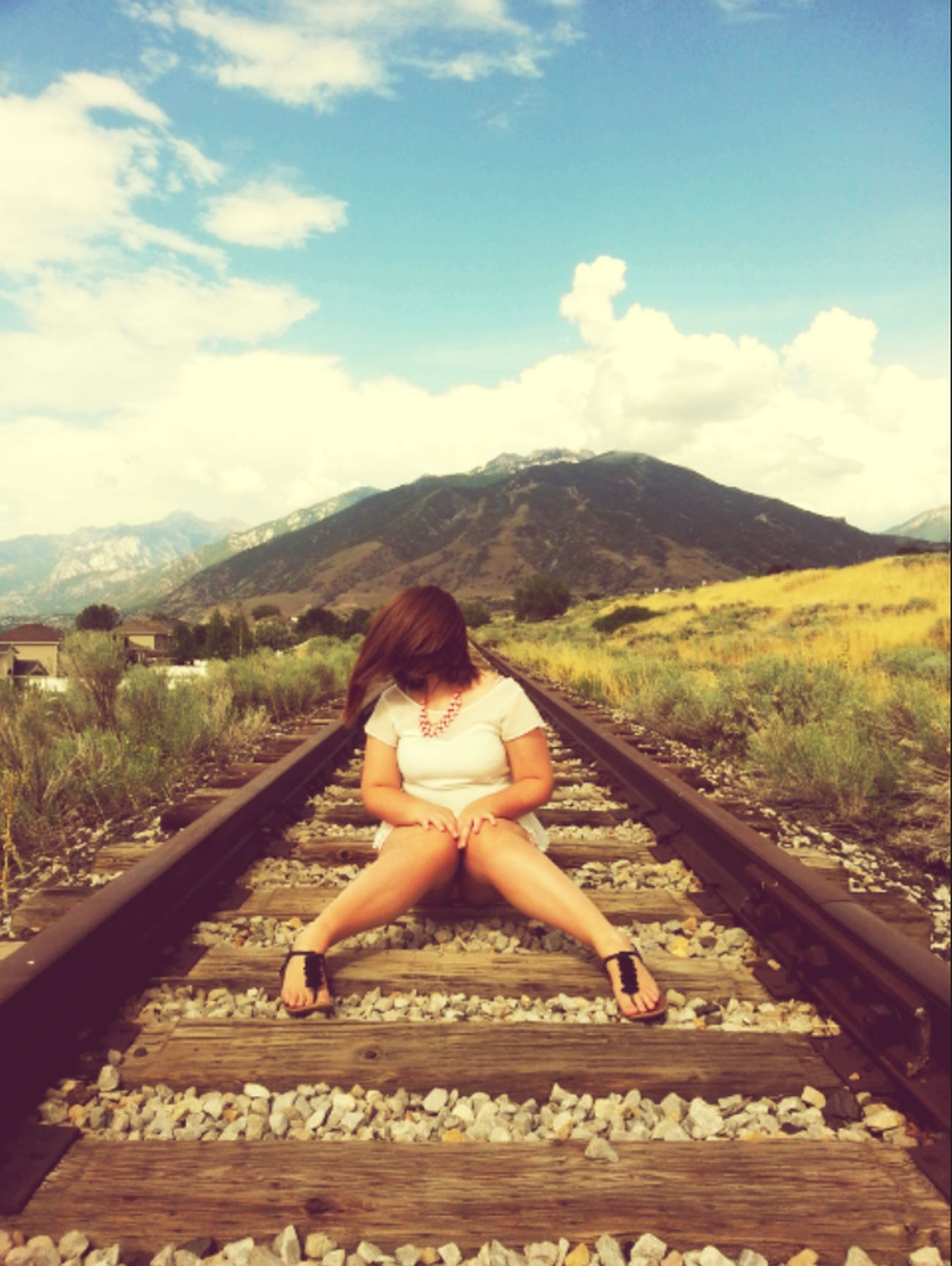 {I wait for the train that never comes} Train Tracks Hair In Face Photo Editing Sky