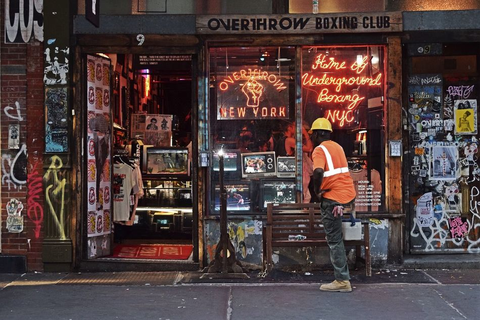 Overthrow Boxing Club Boxing Streetphotography Streetview Street Photography Street Life Capture The Moment NYC Photography Enjoying The Moment Enjoying Time Enjoying Life Places I've Been Enjoying The Sights Enjoying The View Nikon D3300 New York Great View Training Shadowboxing Shadow Boxing Construction Worker Boxing Fight