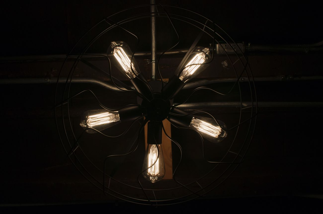 Light. Fan. Darkness. Lighting Equipment Electricity  Illuminated Technology Light Bulb Indoors  No People Filament Close-up Modern Darkroom Night Fan Fixture