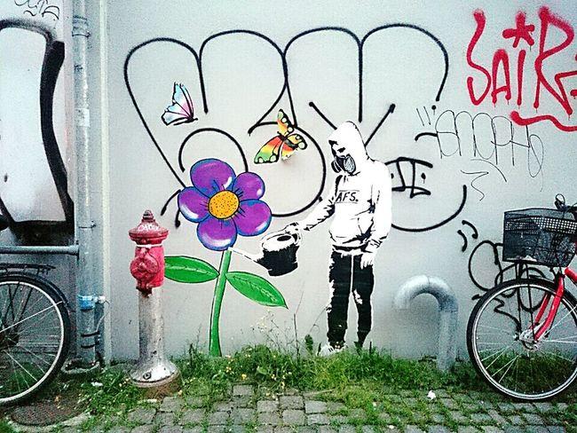 Copenhagen Copenhagen, Denmark Streetphotography Street Photography Streetart Street Art Stencil Art Wheatpaste Watertheflowers Watercan Tagging Aerosol Graffiti Graphic Blackandwhite