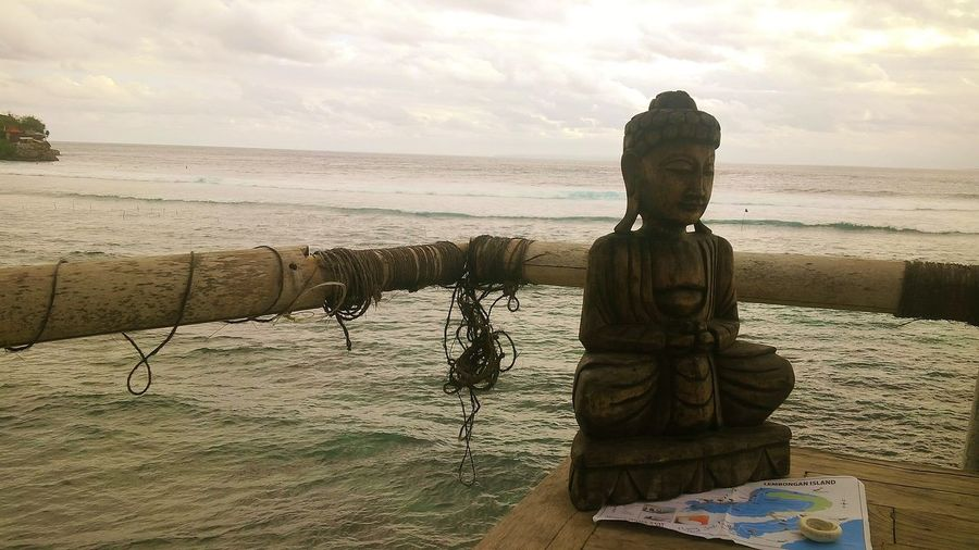Beach Beauty In Nature Buda Statue Cloud - Sky Day Horizon Over Water Nature No People Outdoors Scenics Sea Sky Tranquil Scene Tranquility Water
