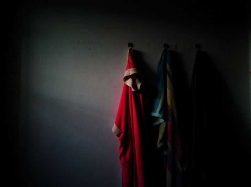 Morning a nice day. Red Indoors  No People Hanging Multi Colored Coathanger Day Darkness And Light