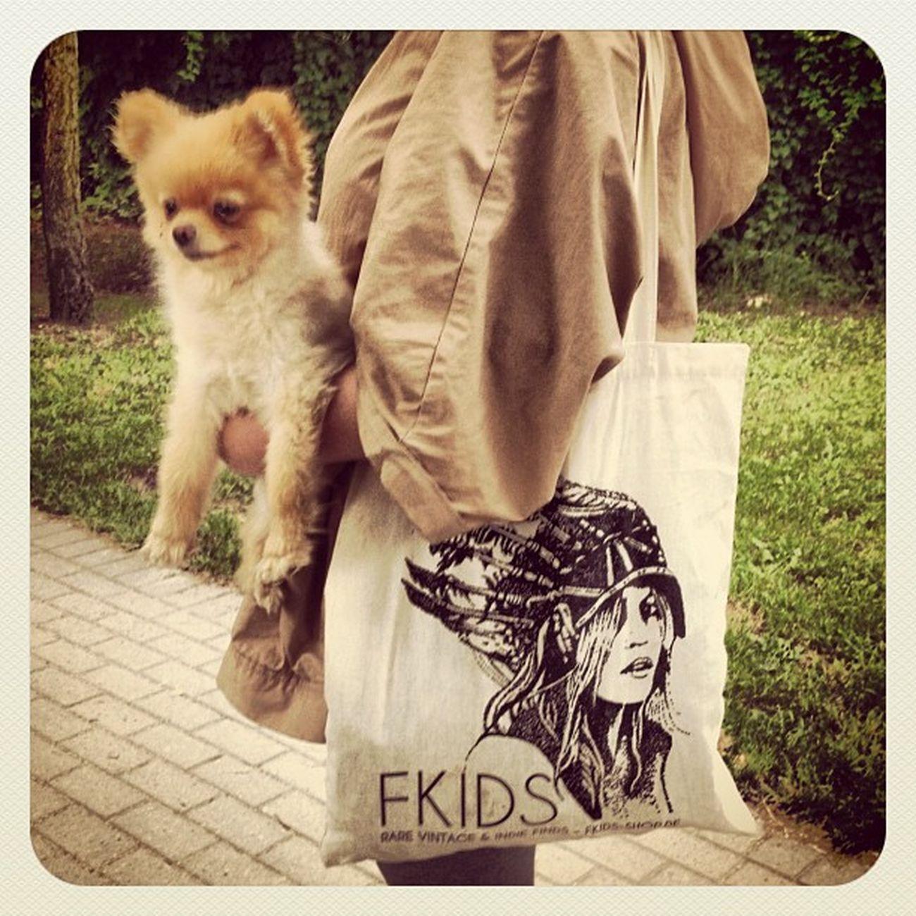 Cute dog cute FKIDS tote :D Pom Pomeranian Zwergspitz Totebag puppydog