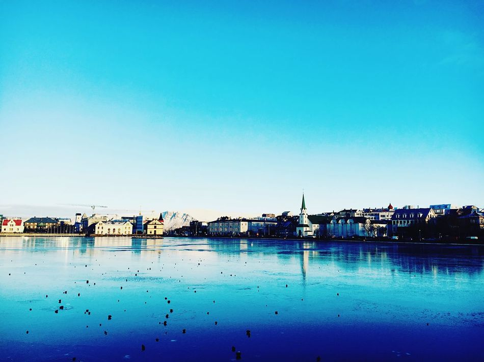 Water Clear Sky Tranquility Waterfront Sky Reykjavik Tjörnin Cityscape Blue The City Light