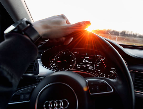 A6 Audi Audi A6 Car Close-up Dashboard Day Driving Human Hand Lens Flare Sky Speed Speedometer Steering Wheel Sun Sunset Vehicle Interior