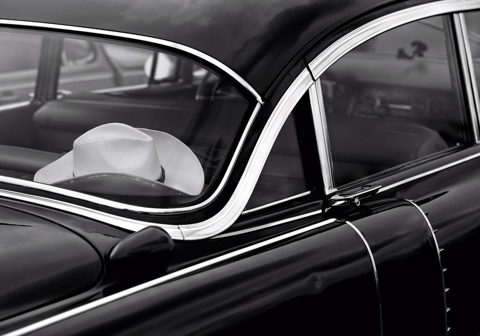 Stetson America B&w Photography Car Chrome City Life Classic Car Close-up Country Country Living Country Road Countrylife Cowboy Driving Fashion Land Vehicle Mode Of Transport No People Oldtimer Sixties Style Stetson  Stetson Hat Texas Transportation US Cars Window