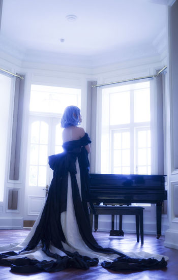 Remilia Scarlet Remilia Scarlet Touhou Project One Woman Only One Person Adult Window Full Length People Indoors  Women Beautiful Woman Beauty Glamour Evening Gown Portrait Day Cosplay Girl Long Dress Piano Prime Asdgraphy Photoshoot Malaysia