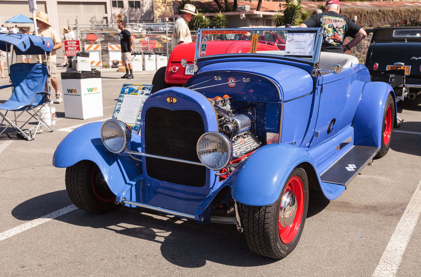 Laguna Beach, CA, USA - October 2, 2016: Blue 1929 Ford A-V8 convertible owned by Richard Strollo and displayed at the Rotary Club of Laguna Beach 2016 Classic Car Show. Editorial use. 1929 1929 Ford Car Show Classic Car Convertible Day Ford A-V8 Ford Convertible Laguna Beach No People Old Car Vintage Car