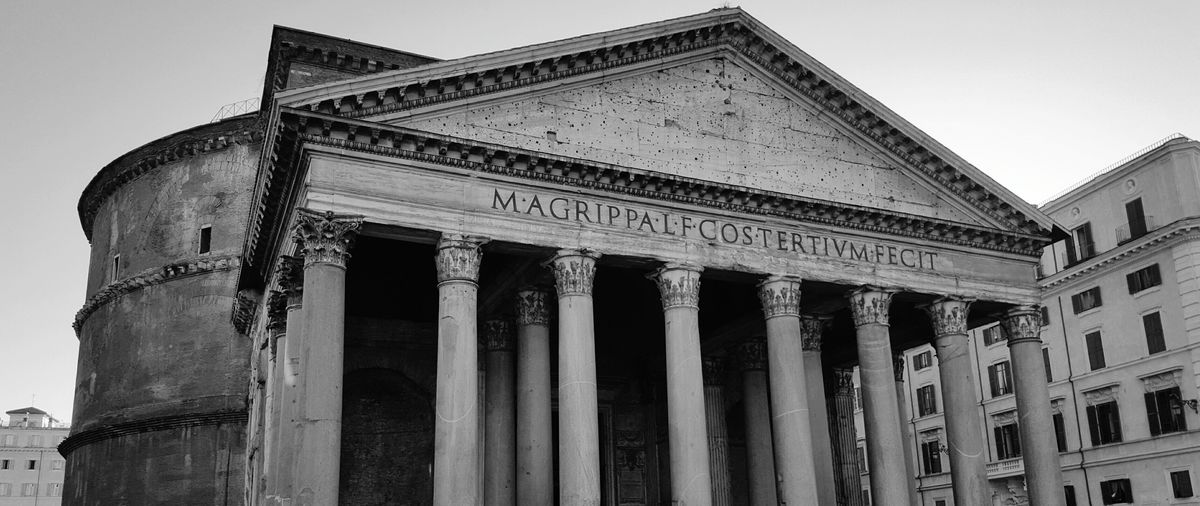 Architectural Column History Built Structure Architecture Sky Travel Destinations No People Outdoors Clear Sky Building Exterior Low Angle View Day Ancient Civilization Close-upArchitecture Pantheon Rome Rome Knowledge Roma, Itàlia