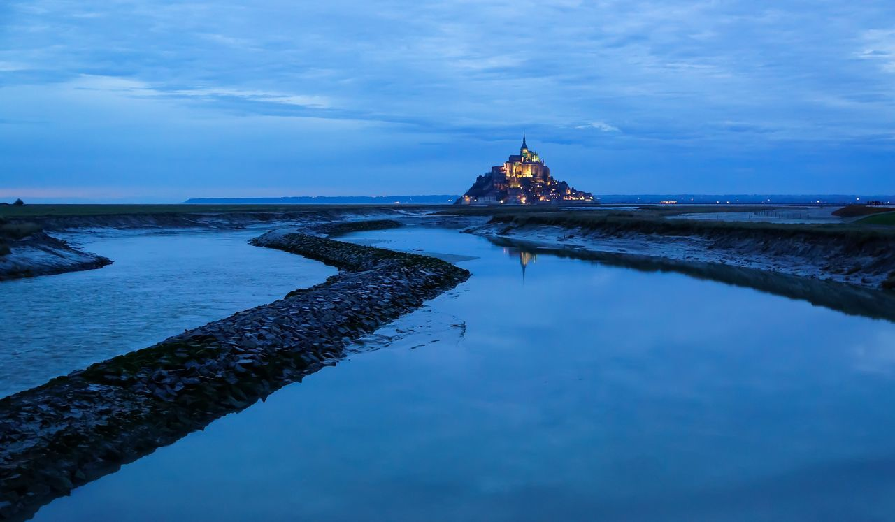Blue Saint Michael's Mount Mont Saint-Michel Normandie Normandy Sea And Sky Couesnon Abbey
