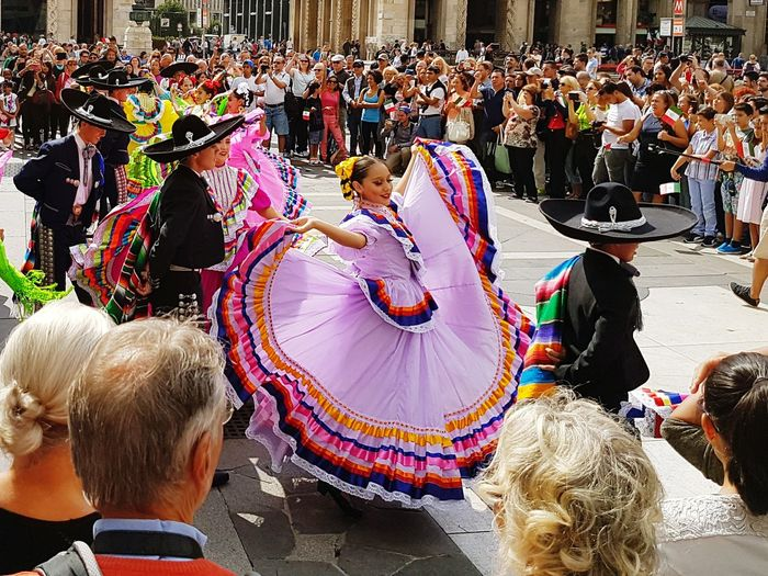 Building Exterior Large Group Of People Architecture Built Structure Crowd Person Milan,Italy Viva Mexico Dancer Holiday Colors Beautiful Retail  Market Stall Sky Standing Choice Street City Street Ceremony Cloud Travel Destinations Variation Outdoors Culture