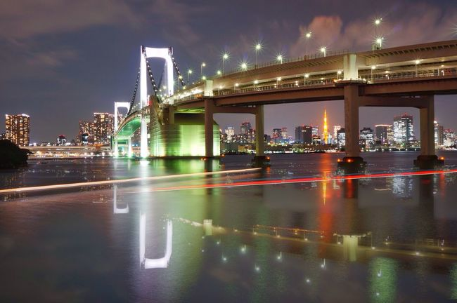 The Mix Up 43 Golden Moments The Innovator Tokyo Night Night Lights Night View Water Reflections Multiple Exposures Illuminated Illumination Light Trails Bridge Ultimate Japan Battle Of The Cities