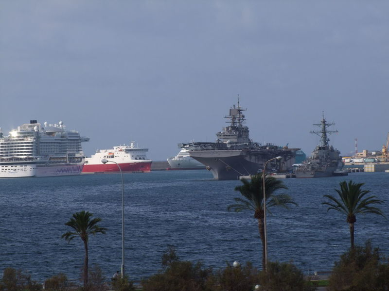 Cruise Liner & War Ships, Palma Port Cloudy Sky Composition Cruise Liner Cruise Ship Mallorca Palma Palma De Mallorca SPAIN Distant View Over Water Docked Boats Harbor Mode Of Transport Nautical Vessels No People Outdoor Photography Palm Trees Palma Port Ripples In The Water Sea Ships Transportation View Over Water Warships Water Waves
