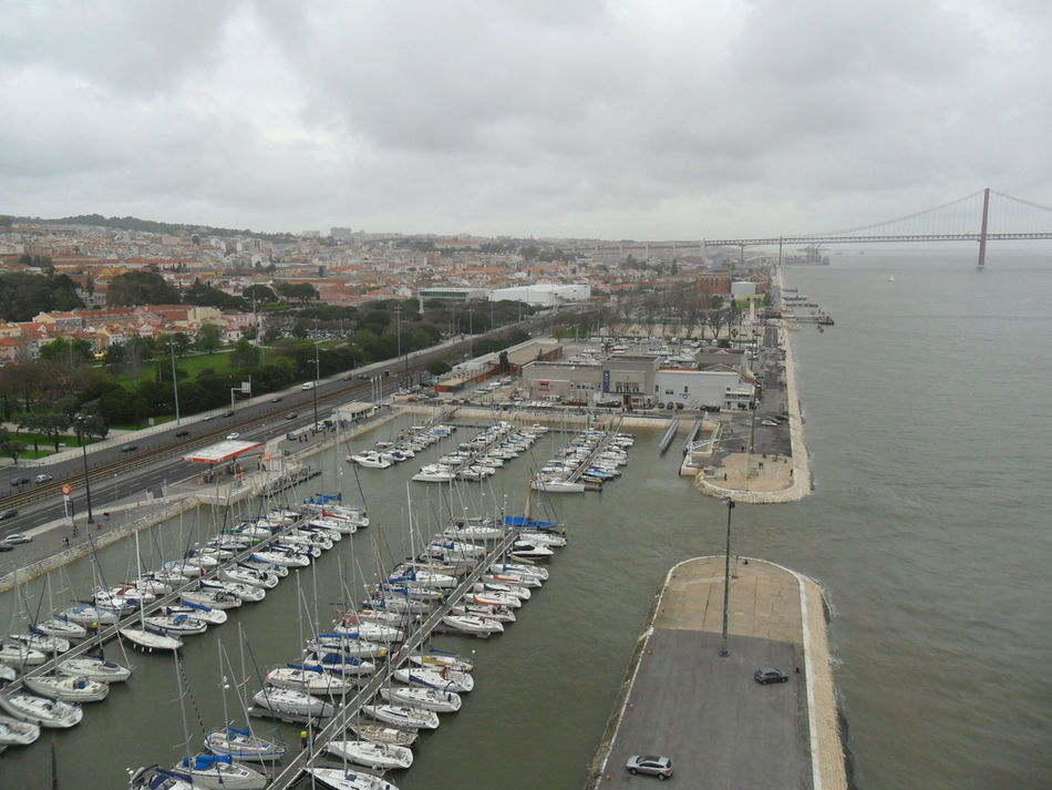 View from The Monument to the Discoveries aka Padrão dos Descobrimentos, in Belém, Lisbon Belém Boat Boats⛵️ Bridge CCB Cloudy Discoveries Grey Grey Sky Lisbon Monastery Monument Mosteiro Dos Jerónimos Museum Portugal River Tagus River Tejo