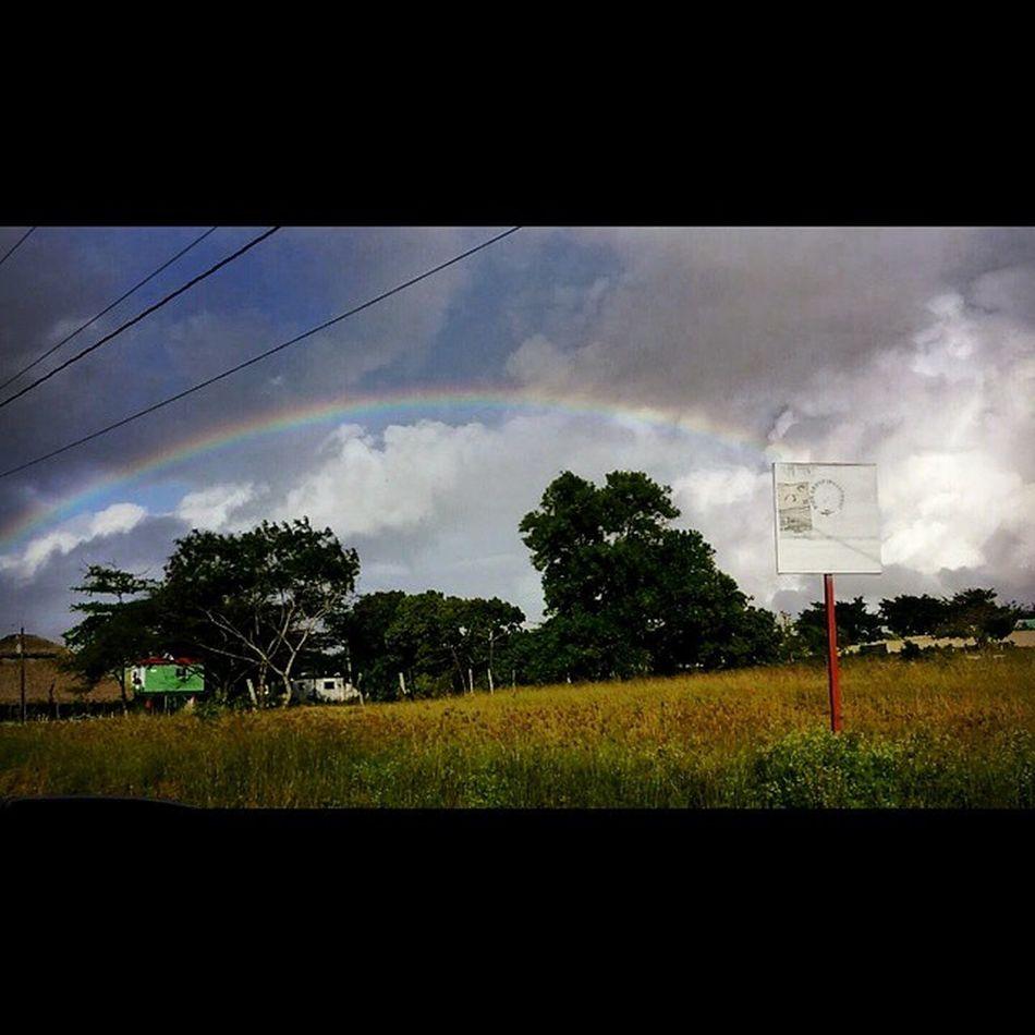 Another beautiful occurrence in the Dr . A rainbow!!! Goodluck DRRoadtrip2015 WheresShanna Wheresmygold Dominicanrepublic Dominicansbelike Beachinthewinter Rainbow Roadtrip Besidemyself Amazing Labuenavida
