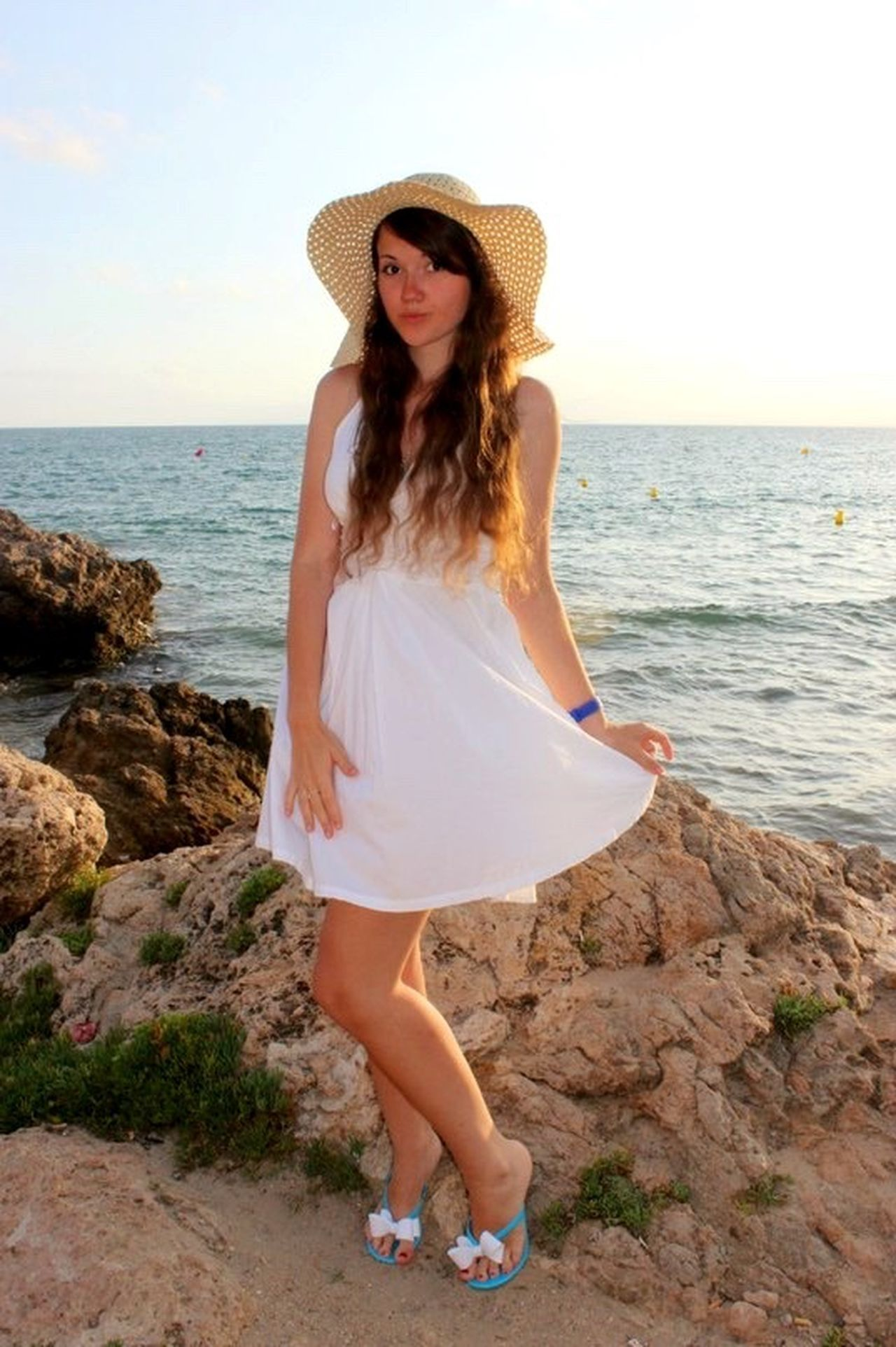 Russian Girl SPAIN Girl Sea Horizon Over Water Water Young Women Young Adult Standing Full Length Long Hair Vacations Person Dress Lifestyles Front View Leisure Activity Beach Scenics Tranquil Scene Nature Shore Big Hat White Dress