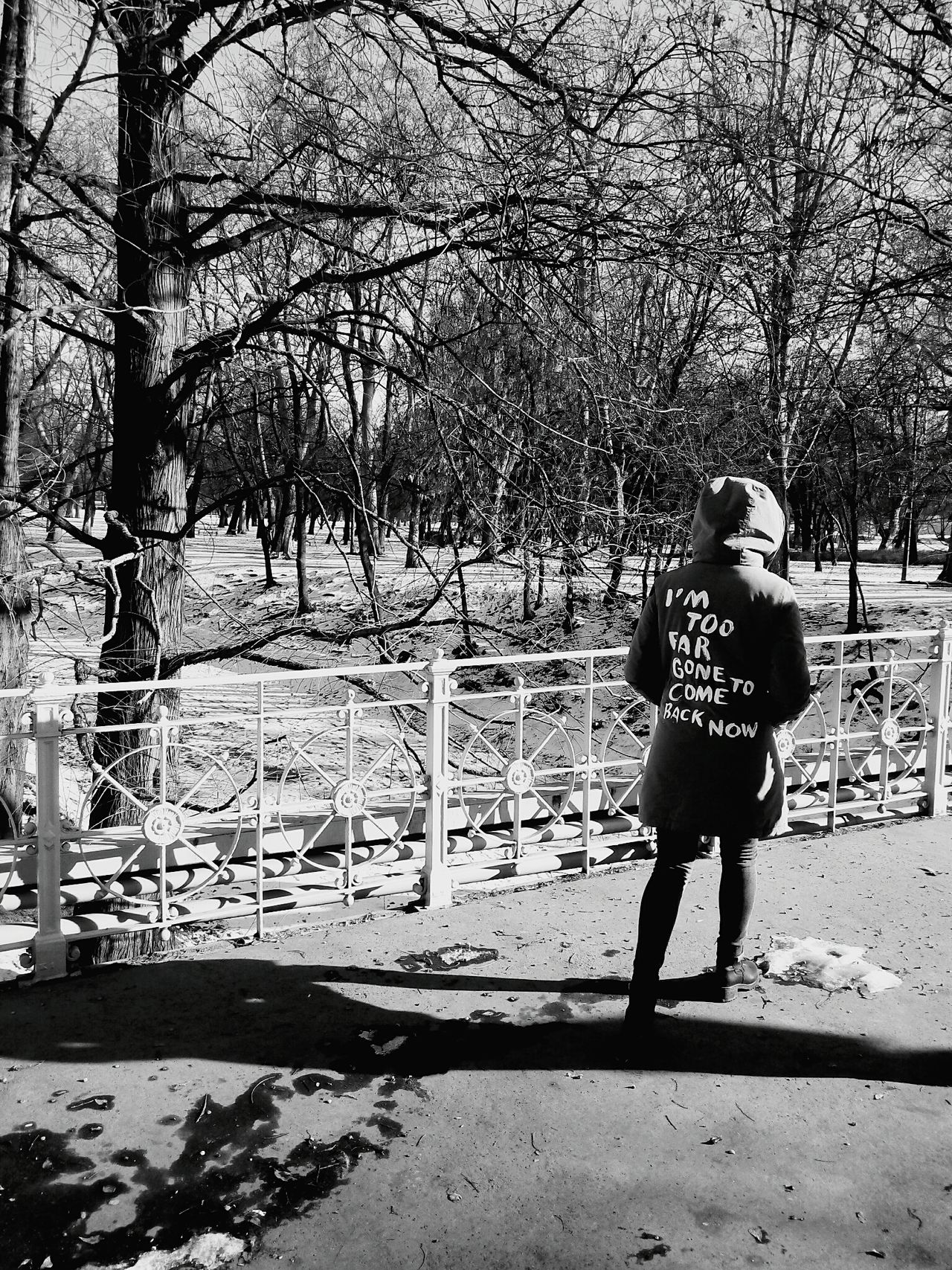 Full Length Tree Real People One Person Leisure Activity Rear View Day Lifestyles Standing Outdoors Nature Warm Clothing Sky Blackandwhite Black & White Black And White Photography Blackandwhitephotography Fargone Scenics Budapest, Hungary Travel Destinations