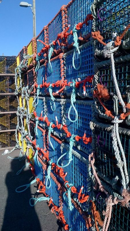 City Colorful Day No People Outdoors Sky Stacked Wire Traps Wharf Side