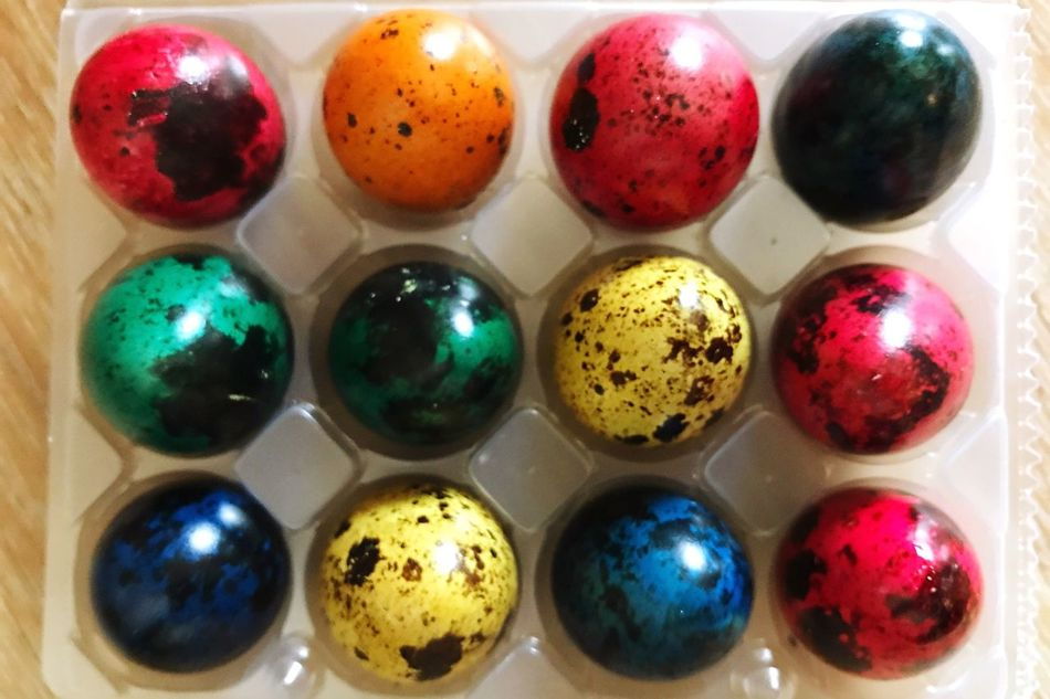 Easter Eggs Eggs Colored Eggs Quail Eggs Easter Egg Multi Colored Celebration Still Life In A Row Variation Easter Indoors  Choice Art And Craft Colorful No People Table Holiday - Event Close-up Food Day