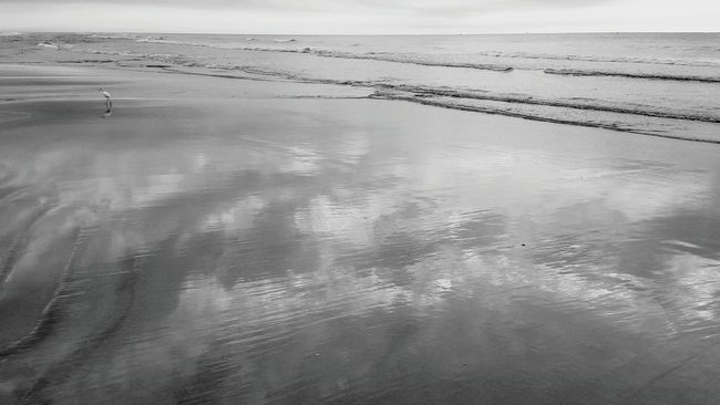 Reflections. Hanging Out Check This Out Taking Photos Enjoying Life Eyeemphoto Shades Of Grey For The Love Of Black And White Monochrome Beach Minimalism Beach Day Life Is A Beach Beach Life Beach Photography Sky And Clouds Zenphotography A Moment Of Zen... Sand & Sea Zen Reflection Blue Sky White Clouds Sand And Sea Summertime