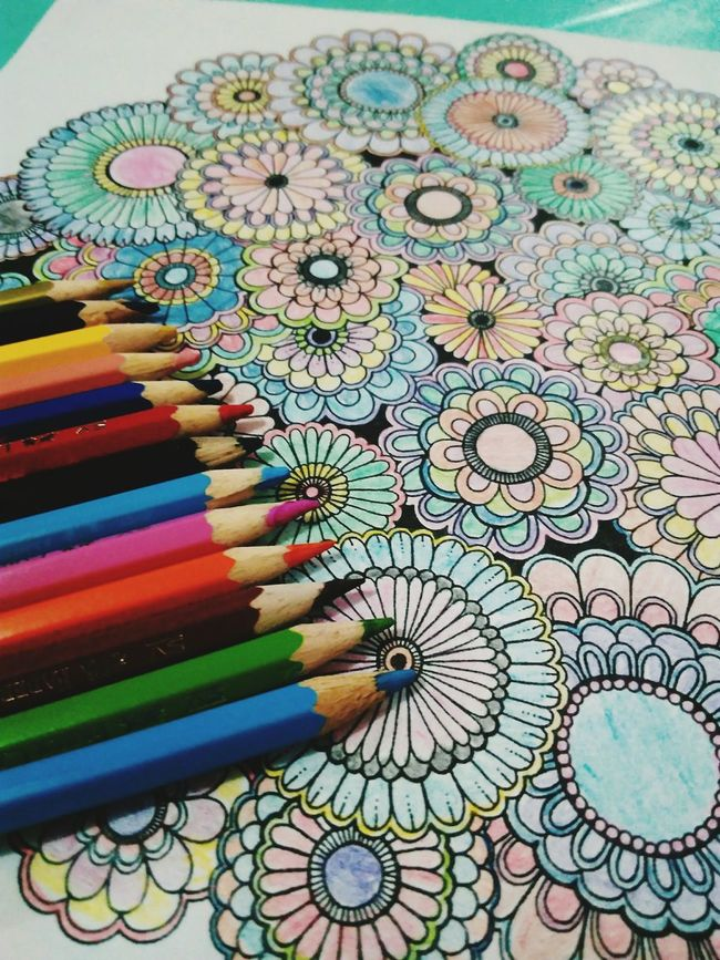New hobby. Adult Coloring Book Flower Patterns Colorful Flowers Colorful Life Colored Pencils Check This Out Flower Collection First Eyeem Photo Eye4photography  EyeEm Best Shots Flowerporn Colour Of Life