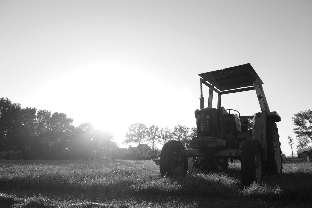 Tractor Countryside Sun Evening Sunset Blackandwhite Photography Agriculture