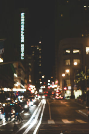 Architecture Bokeh Building Exterior Built Structure Car City City Life Cityscape Defocused Illuminated Night No People Out Of Focus Outdoors Road San Francisco San Francisco Streets Skyscraper Street Street View Traffic Transportation Tree