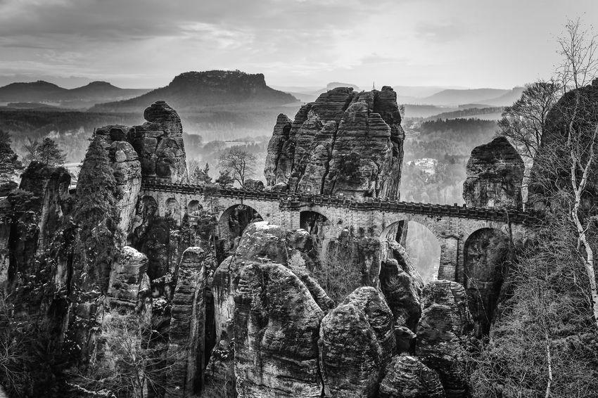Bastei Bridge Landscape Black And White