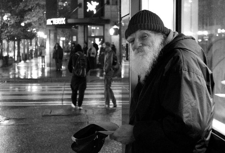 First Eyeem Photo Homeless Man's Journey Resistance  Seattle Homeless SeattleLife Blackandwhite Photography Blackandwhite Rainy Night Compassion