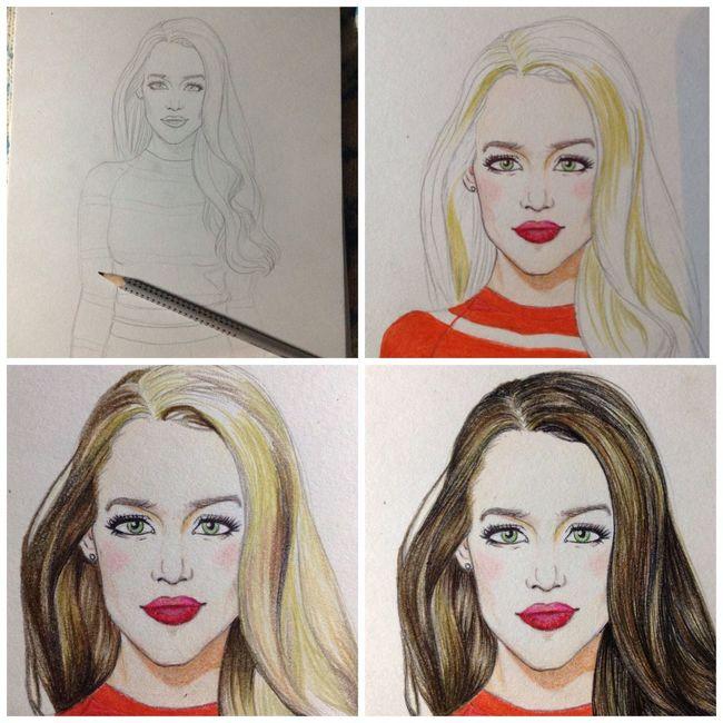 Art Drawing Color Portrait Process