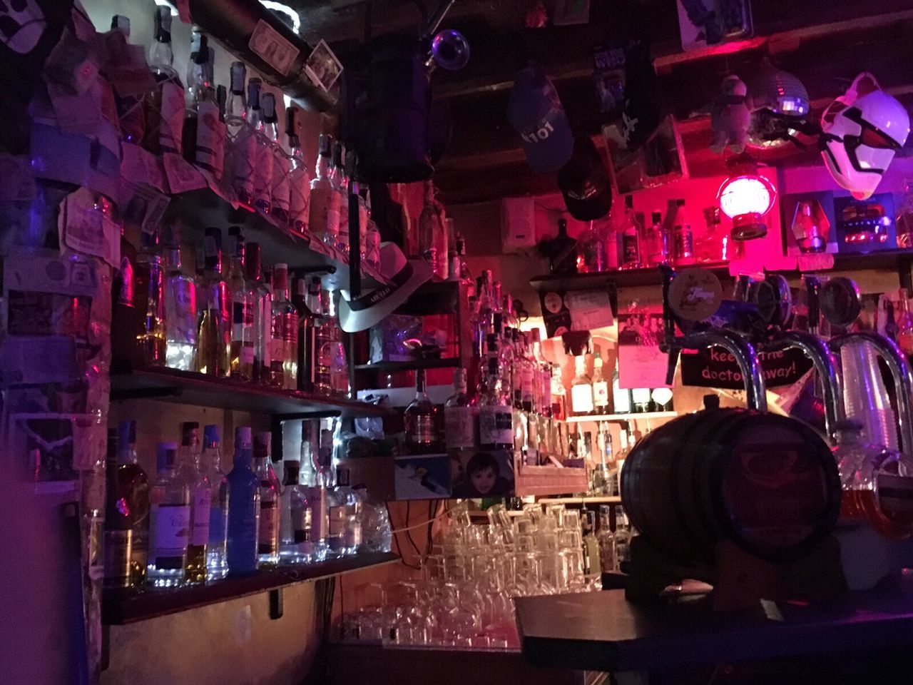 Roman Nights Rome Bar Neon Lights Fluorescent Bottle Rum Experiencing Places