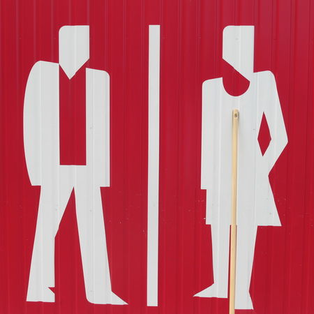 Bathroom Sign Close-up Day Detail Focus On Foreground Men And Women No People Outdoors Red Red Color Toilette Sign White Women And Men