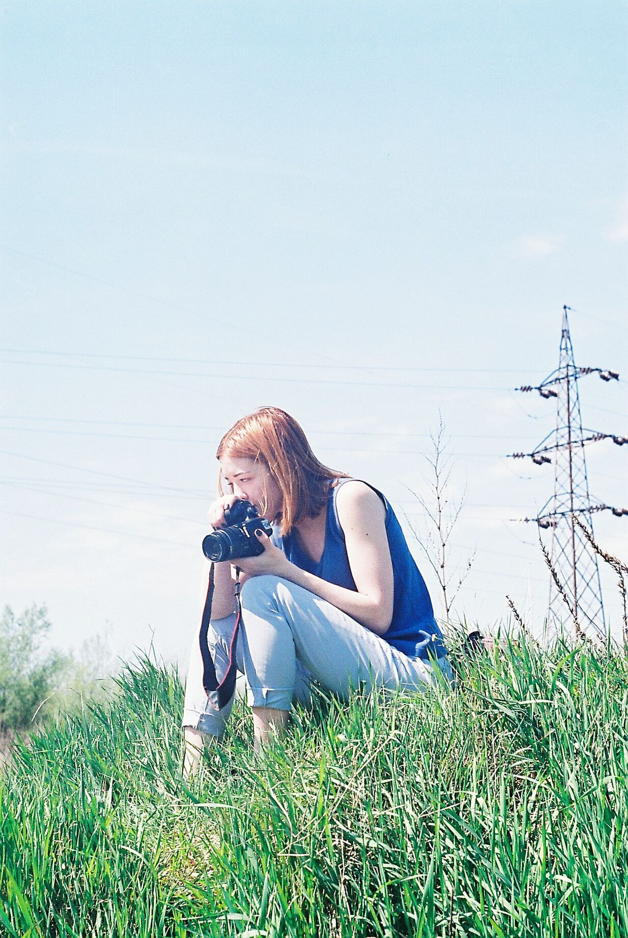Analogue Photography Analog Film Photography 35mm Film 35mm Zenit Kodak Summer Nature Technology Modern Modern Life Young Ginger Gingerhair Short Hair Camera Taking Pictures Nature And Technology Envision The Future