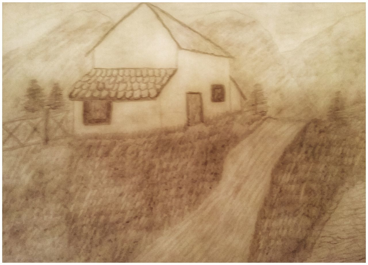 Drawing Landscape House Grassland Mountains Trees Nature