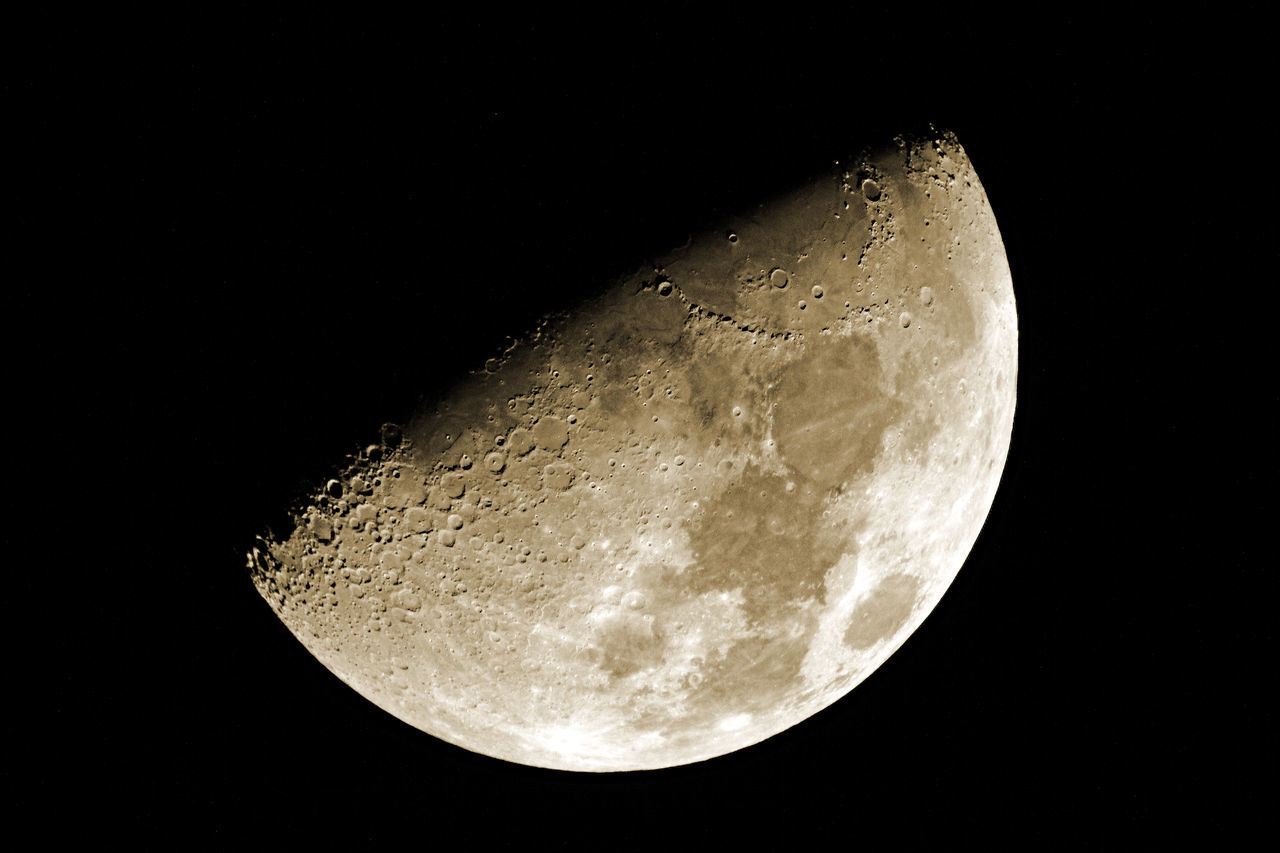 moon, night, moon surface, planetary moon, astronomy, nature, no people, copy space, beauty in nature, half moon, clear sky, close-up, tranquility, scenics, low angle view, space exploration, outdoors, black background, sky, space