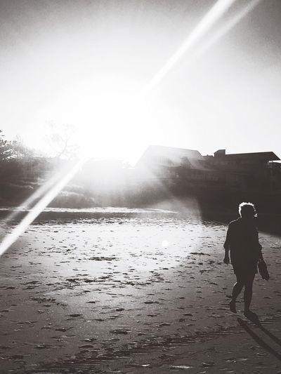 Blackandwhite Water Beach Sun Nature Outdoors One Person Sea