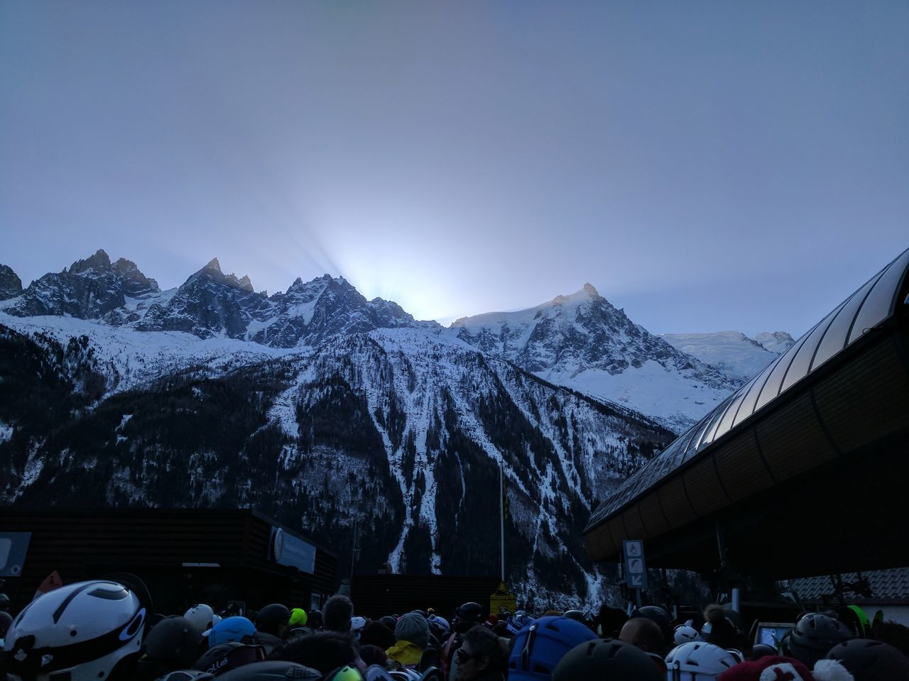 mountain, snow, cold temperature, winter, nature, large group of people, weather, beauty in nature, leisure activity, outdoors, mountain range, scenics, real people, lifestyles, snowcapped mountain, day, landscape, sky, tent, men, architecture, crowd, people