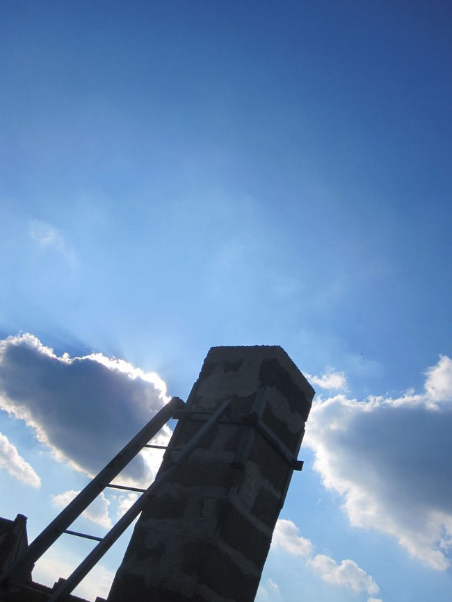 Blue Sky Chimney Cloud - Sky Ladder Lookingup Low Angle View Space To The Sky