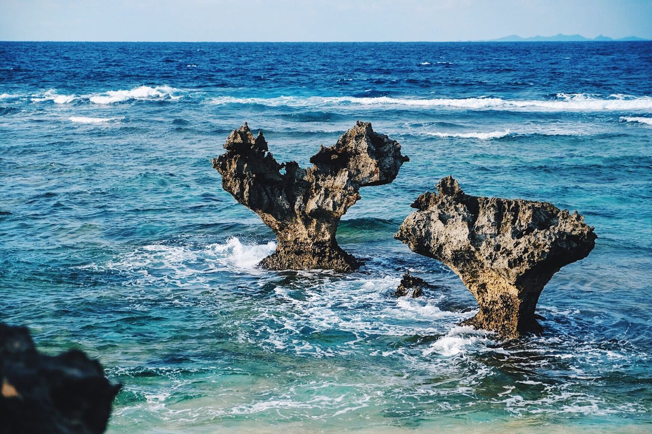 Unknown beach in Okinawa Sea And Sky Seascape Rock - Object Weathering Horizon Over Water Water Nature Rock Formation Beauty In Nature Outdoors No People