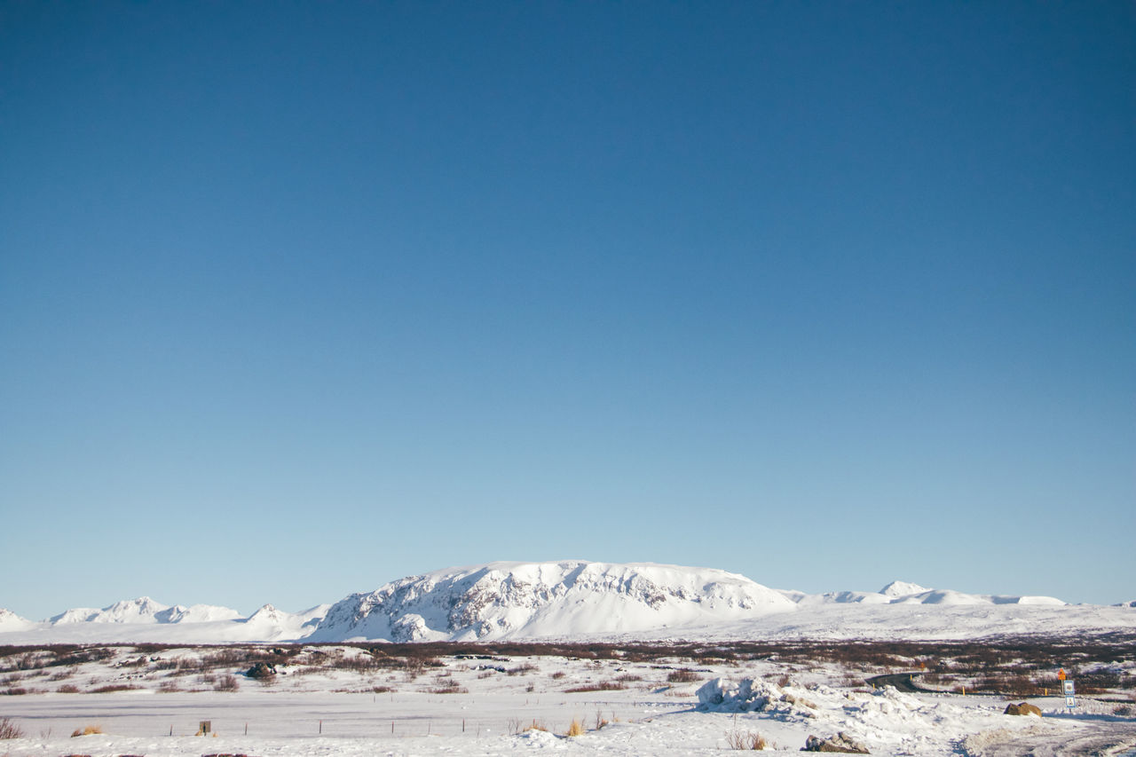 Beauty In Nature Blue Clear Sky Cold Temperature Copy Space Day Iceland Idyllic Landscape Mountain Mountain Range Nature No People Outdoors Scenics Sky Snow Snowcapped Mountain Thingvellir National Park Tranquil Scene Tranquility Travel Winter EyeEmNewHere