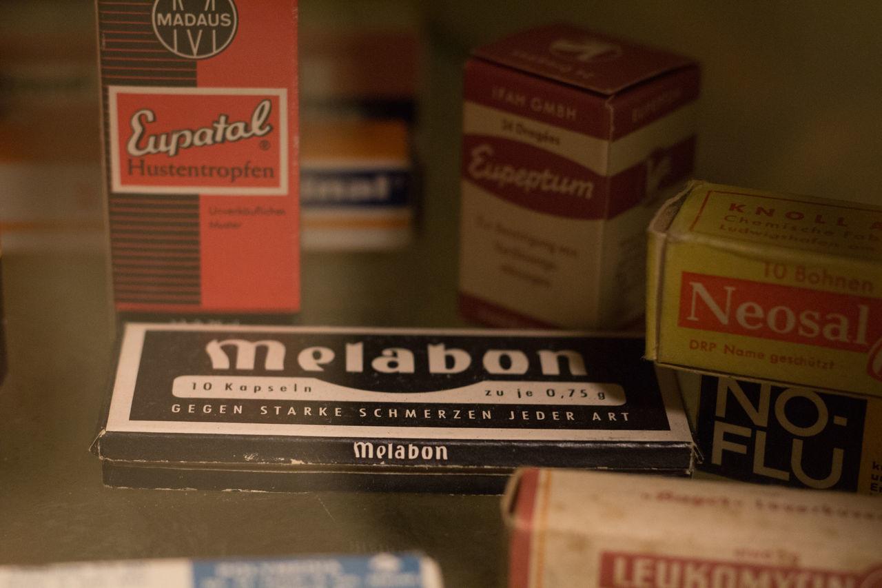 Brd Bunker Close-up Cold War Indoors  Information Sign Medicine No People Text Melabon Eupatal Neosal Eupeptum No-flu