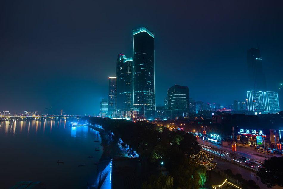 Night Skyline of Changsha City Architecture Changsha China City Cityscape Modern Night River Sky Skyscraper Tall Urban Skyline
