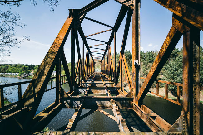 Old train bridge at Friedhofsbahn Abandoned Abandoned & Derelict Abandoned Places Abandoned_junkies Architecture Bridge - Man Made Structure Built Structure Connection Day Diminishing Perspective Engineering Historic Light Light And Shadow Lost Lostplaces Metallic Nature No People Old Outdoor Outdoors Rusty Sky The Way Forward